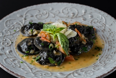 Large Round Crab with Squid Ink Dough Ravioli