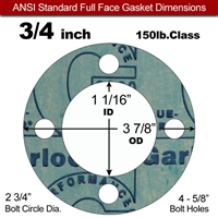 "Garlock 3000 NBR Full Face Gasket - 150 Lb. - 1/16"" Thick - 3/4"" Pipe"