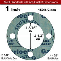 "Garlock 3000 NBR Full Face Gasket - 150 Lb. - 1/16"" Thick - 1"" Pipe"