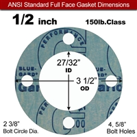 "Garlock 3000 NBR Full Face Gasket - 150 Lb. - 1/8"" Thick - 1/2"" Pipe"