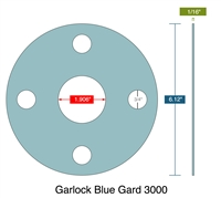 "Garlock 3000 NBR Full Face Gasket - 300 Lb. - 1/16"" Thick - 1-1/2"" Pipe"