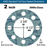"Garlock 3000 NBR Full Face Gasket - 300 Lb. - 1/16"" Thick - 2"" Pipe"