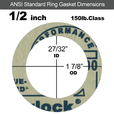 "Garlock 3200 SBR Ring Gasket - 150 Lb. - 1/16"" Thick - 1/2"" Pipe"
