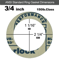 "Garlock 3200 SBR Ring Gasket - 150 Lb. - 1/16"" Thick - 3/4"" Pipe"
