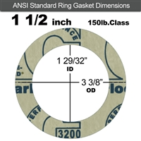 "Garlock 3200 SBR Ring Gasket - 150 Lb. - 1/16"" Thick - 1-1/2"" Pipe"