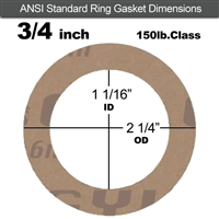 "Garlock 3500 Fawn Gylon® Ring Gasket - 150 Lb. - 1/16"" Thick - 3/4"" Pipe"