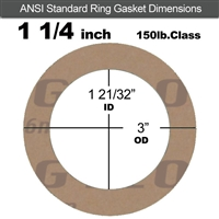 "Garlock 3500 Fawn Gylon® Ring Gasket - 150 Lb. - 1/16"" Thick - 1-1/4"" Pipe"
