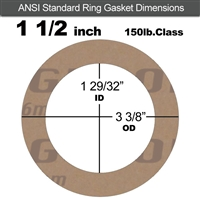 "Garlock 3500 Fawn Gylon® Ring Gasket - 150 Lb. - 1/16"" Thick - 1-1/2"" Pipe"