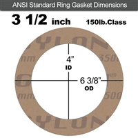 "Garlock 3500 Fawn Gylon® Ring Gasket - 150 Lb. - 1/16"" Thick - 3-1/2"" Pipe"