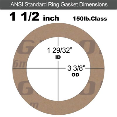 "Garlock 3500 Fawn Gylon® Ring Gasket - 150 Lb. - 1/8"" Thick - 1-1/2"" Pipe"