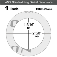 "Garlock Gylon® 3510 Ring Gasket - 150 Lb. - 1/8"" Thick - 1"" Pipe"
