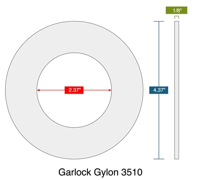 "Garlock Gylon® 3510 Ring Gasket - 300 Lb. - 1/8"" Thick - 2"" Pipe"