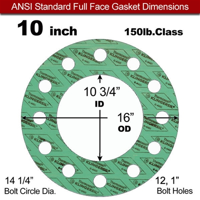 "C-4401 Green N/A NBR Full Face Gasket - 150 Lb. - 1/16"" Thick - 10"" Pipe"