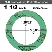 "C-4401 Green N/A NBR Ring Gasket - 150 Lb. - 1/8"" Thick - 1-1/2"" Pipe"