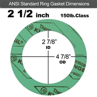 "C-4401 Green N/A NBR Ring Gasket - 150 Lb. - 1/8"" Thick - 2-1/2"" Pipe"