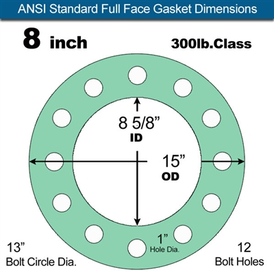 "Equalseal EQ750G Full Face Gasket - 300 Lb. Class - 1/16"" - 8"" Pipe Size"