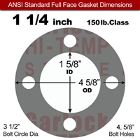 "Garlock Style 9850 N/A NBR Full Face Gasket - 150 Lb. - 1/16"" Thick - 1-1/4"" Pipe"