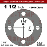 "Garlock Style 9850 N/A NBR Full Face Gasket - 150 Lb. - 1/16"" Thick - 1-1/2"" Pipe"