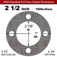 "Garlock Style 9850 N/A NBR Full Face Gasket - 150 Lb. - 1/16"" Thick - 2-1/2"" Pipe"