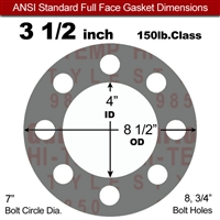 "Garlock Style 9850 N/A NBR Full Face Gasket - 150 Lb. - 1/16"" Thick - 3-1/2"" Pipe"