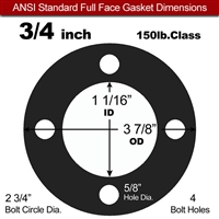 "60 Duro Buna-N Full Face Gasket - 150 Lb. - 1/8"" Thick - 3/4"" Pipe"