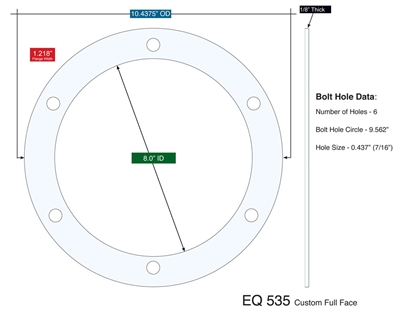 "Equalseal EQ 535 Custom Full Face Gasket - 8"" x 10.4375"" x 1/8"""