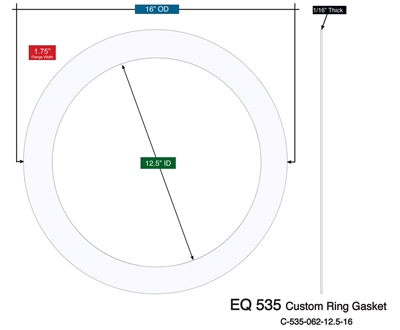 "Equalseal EQ 535 Custom Ring Gasket - 12.5"" x 16"" x 1/16"""