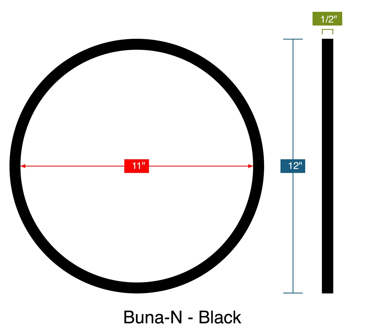 70 Duro Buna-N Rubber Ring Gasket - 11\