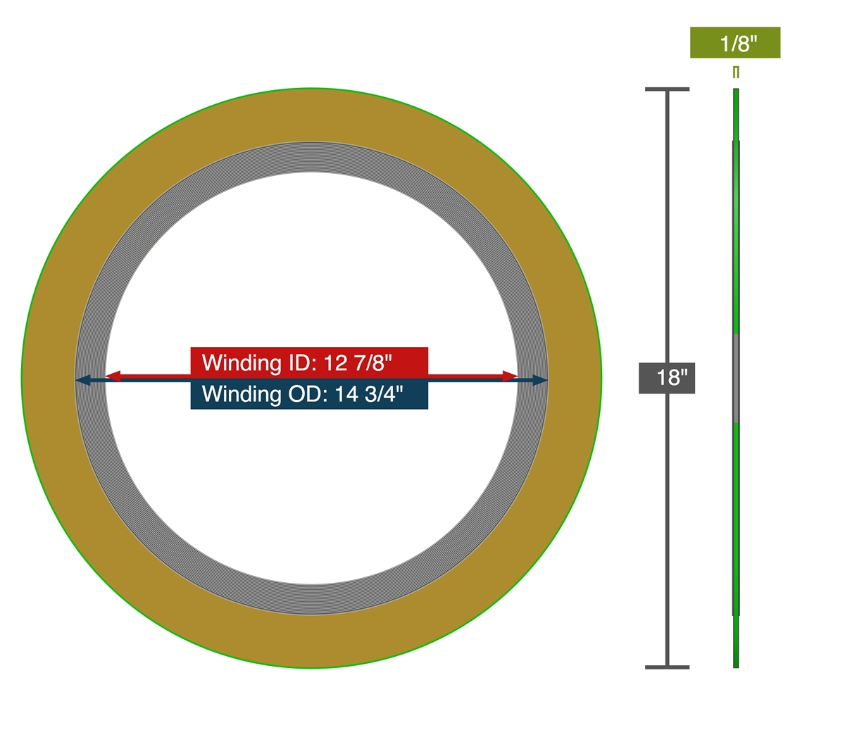 14 Pipe Size Inconel 600 Flexible Graphite Inc Teadit 900014600GR400 Spiral Wound Gasket #400 Class Flange for Applications with High Temperature Variations Thermal Cycling 14 Pipe Size Assigned by Sur-Seal Sur-Seal