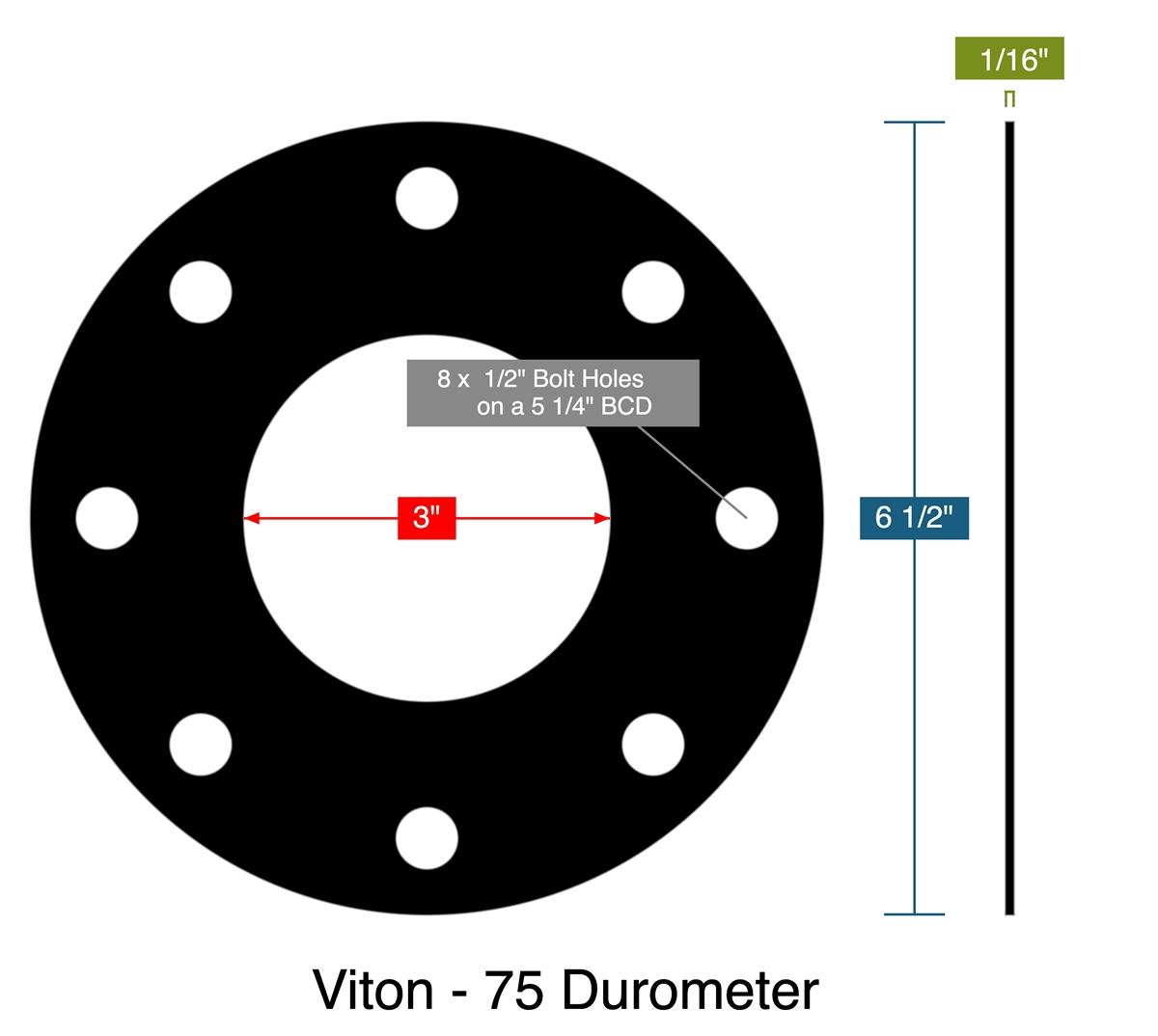 FKM 0.183 Thick 6.778 ID 364 Viton Black Backup Ring 90A Durometer