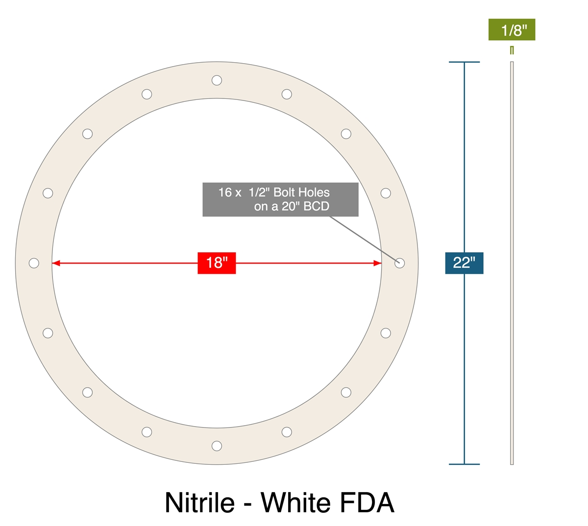 Nitrile - White FDA - Full Face Gasket - 1/8