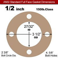 "Equalseal EQ 500 Full Face Gasket - 1/16"" Thick - 150 Lb - 1/2"""