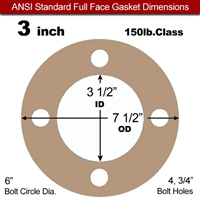 "Equalseal EQ 500 Full Face Gasket - 1/8"" Thick - 150 Lb - 3"""