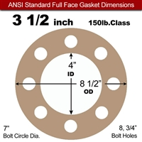 "EQ 500 Full Face Gasket - 150 Lb. - 1/8"" Thick - 3-1/2"" Pipe"