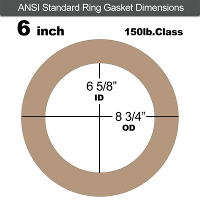 "EQ 500 Ring Gasket - 150 Lb. - 1/8"" Thick - 6"" Pipe for Oxygen Service"
