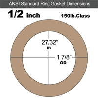 "Equalseal EQ 500 Ring Gasket - 1/8"" Thick - 150 Lb - 1/2"""