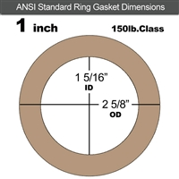 "Equalseal EQ 500 Ring Gasket - 1/8"" Thick - 150 Lb - 1"""