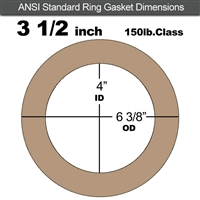 "EQ 500 Ring Gasket - 150 Lb. - 1/8"" Thick - 3-1/2"" Pipe"