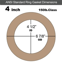 "Equalseal EQ 500 Ring Gasket - 1/8"" Thick - 150 Lb - 4"""