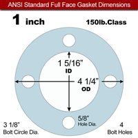 "Equalseal EQ 504 Full Face Gasket - 1/8"" Thick - 150 Lb - 1"""