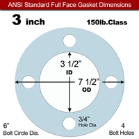 "Equalseal EQ 504 Full Face Gasket - 1/8"" Thick - 150 Lb - 3"""