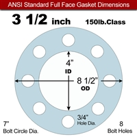 "Equalseal EQ 504 Full Face Gasket - 150 Lb. - 1/8"" Thick - 3-1/2"" Pipe"