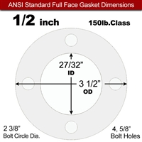 "Equalseal EQ 510 Full Face Gasket - 1/16"" Thick - 150 Lb - 1/2"""