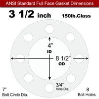 "Equalseal EQ 510 Full Face Gasket - 150 Lb. - 1/16"" Thick - 3-1/2"" Pipe"