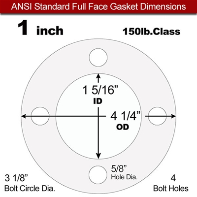 "Equalseal EQ 535exp Full Face Gasket - 150 Lb. - 1/16"" Thick - 1"" Pipe"