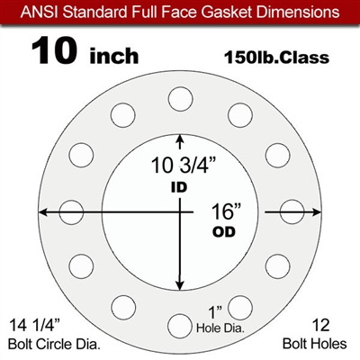 "Equalseal EQ 535exp Full Face Gasket - 150 Lb. - 1/16"" Thick - 10"" Pipe"