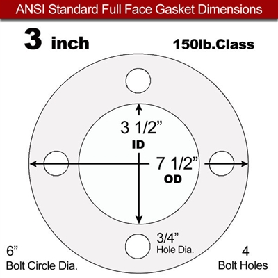 "Equalseal EQ 535exp Full Face Gasket - 150 Lb. - 1/8"" Thick - 3"" Pipe"