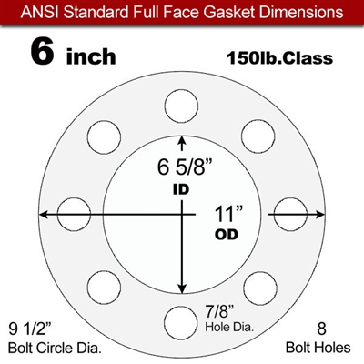 "Equalseal EQ 535exp Full Face Gasket - 150 Lb. - 1/8"" Thick - 6"" Pipe"