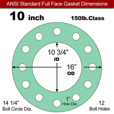 "EQ 750G N/A NBR Full Face Gasket - 150 Lb. - 1/16"" Thick - 10"" Pipe"