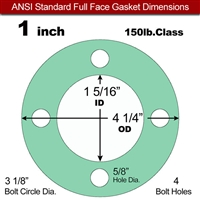 "EQ 750G N/A NBR Full Face Gasket - 150 Lb. - 1/8"" Thick - 1"" Pipe"